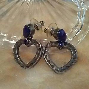 Native American Sodalite Heart Earrings